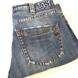1921 Crop Jeans Fray 32 Button Fly Japanese Denim
